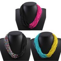 Glasperlen -Halsketten-, Glas-Rocailles, mit Verlängerungskettchen von 7cm, für Frau, keine, 500mm, verkauft per ca. 19.5 ZollInch Strang