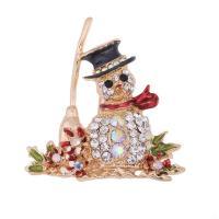 Weihnachten Broschen, Zinklegierung, Weihnachtsmann, goldfarben plattiert, unisex & Weihnachtsschmuck & Emaille & mit Strass, frei von Blei & Kadmium, 50x45mm, verkauft von PC