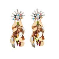 Mode Statement Ohrring, Zinklegierung, mit Kunststoff Pailletten & Kunststoff Perlen, plattiert, verschiedene Stile für Wahl & für Frau, frei von Nickel, Blei & Kadmium, verkauft von Paar