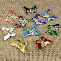 Cloisonné Anhänger, Schmetterling, handgemacht, hohl, keine, 20x15mm, Bohrung:ca. 1.5mm, 10PCs/Tasche, verkauft von Tasche
