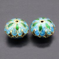 Cloisonne Perlen, Cloisonné, flache Runde, handgemacht, hohl, keine, 18x8mm, Bohrung:ca. 1.5mm, 10PCs/Tasche, verkauft von Tasche