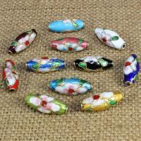 Cloisonne Perlen, Cloisonné, oval, handgemacht, keine, 17x7mm, Bohrung:ca. 1.5mm, 10PCs/Tasche, verkauft von Tasche