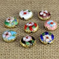 Cloisonne Perlen, Cloisonné, flache Runde, handgemacht, keine, 12x12mm, Bohrung:ca. 1.5mm, 30PCs/Tasche, verkauft von Tasche