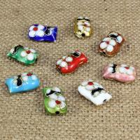 Cloisonne Perlen, Cloisonné, Eule, handgemacht, keine, 14x10mm, Bohrung:ca. 1.5mm, 10PCs/Tasche, verkauft von Tasche