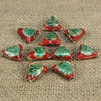 Cloisonne Perlen, Cloisonné, Dreieck, handgemacht, keine, 14x13mm, Bohrung:ca. 1.5mm, 20PCs/Tasche, verkauft von Tasche