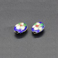 Cloisonne Perlen, Cloisonné, flachoval, handgemacht, keine, 12x9mm, Bohrung:ca. 1.5mm, 10PCs/Tasche, verkauft von Tasche