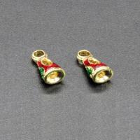 Zinklegierung Perlen Einstellung, goldfarben plattiert, Imitation Cloisonne & Emaille, frei von Blei & Kadmium, 13x6mm, Bohrung:ca. 1.5mm, 10PCs/Tasche, verkauft von Tasche