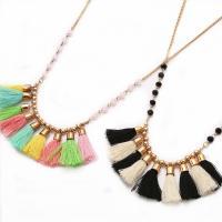 Mode-Fringe-Halskette, Eisenkette, mit Baumwolle Schnur & Kristall, mit Verlängerungskettchen von 3.93Inch, goldfarben plattiert, Twist oval & für Frau & facettierte, keine, 35mm, verkauft per ca. 24.4 ZollInch Strang