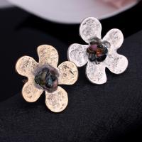 Zinklegierung Manschette Fingerring, mit Edelstein, Blume, plattiert, für Frau, keine, frei von Blei & Kadmium, 45x45mm, Größe:6-10, verkauft von PC
