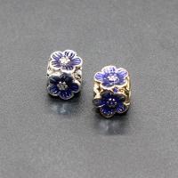 Imitation Cloisonne Zink Legierung Perlen, Zinklegierung, Blume, plattiert, Emaille, keine, frei von Blei & Kadmium, 8x8mm, Bohrung:ca. 2.5mm, 10PCs/Tasche, verkauft von Tasche