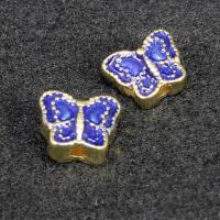 Imitation Cloisonne Zink Legierung Perlen, Zinklegierung, Schmetterling, goldfarben plattiert, Emaille, keine, frei von Blei & Kadmium, 10x8mm, Bohrung:ca. 1.5mm, 10PCs/Tasche, verkauft von Tasche