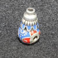 Zinklegierung 3-Loch-Guru-Perlen-Set, Kalebasse, antik silberfarben plattiert, Imitation Cloisonne & buddhistischer Schmuck & Emaille, frei von Blei & Kadmium, 16x10mm, Bohrung:ca. 1.5.2mm, 10PCs/Tasche, verkauft von Tasche