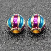 Imitation Cloisonne Zink Legierung Perlen, Zinklegierung, Laterne, goldfarben plattiert, Emaille, keine, frei von Blei & Kadmium, 11x10mm, Bohrung:ca. 3mm, 10PCs/Tasche, verkauft von Tasche