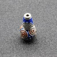 Zinklegierung 3-Loch-Guru-Perlen-Set, antik silberfarben plattiert, Imitation Cloisonne & buddhistischer Schmuck & Emaille, frei von Blei & Kadmium, 16x9mm, Bohrung:ca. 1.5,2mm, 10PCs/Tasche, verkauft von Tasche
