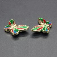 Imitation Cloisonne Zink Legierung Perlen, Zinklegierung, Schmetterling, plattiert, Emaille, keine, frei von Blei & Kadmium, 21x14mm, Bohrung:ca. 1.5mm, 10PCs/Tasche, verkauft von Tasche