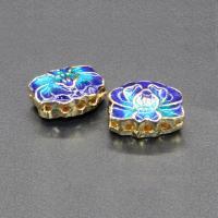 Imitation Cloisonne Zink Legierung Perlen, Zinklegierung, goldfarben plattiert, Mehrloch- & Emaille, keine, frei von Blei & Kadmium, 14x11mm, Bohrung:ca. 1.5mm, 10PCs/Tasche, verkauft von Tasche