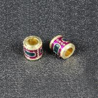 Imitation Cloisonne Zink Legierung Perlen, Zinklegierung, Zylinder, goldfarben plattiert, Emaille, keine, frei von Blei & Kadmium, 8x8mm, Bohrung:ca. 3.5mm, 10PCs/Tasche, verkauft von Tasche