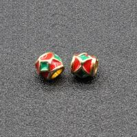 Imitation Cloisonne Zink Legierung Perlen, Zinklegierung, Trommel, goldfarben plattiert, Emaille, keine, frei von Blei & Kadmium, 7x6mm, Bohrung:ca. 3.5mm, 10PCs/Tasche, verkauft von Tasche