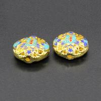 Imitation Cloisonne Zink Legierung Perlen, Zinklegierung, flache Runde, goldfarben plattiert, Emaille & hohl, frei von Blei & Kadmium, 8mm, Bohrung:ca. 1.5mm, 10PCs/Tasche, verkauft von Tasche
