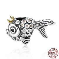 Thailand European Perlen, Goldfisch, Micro pave Strass & für Frau & ohne troll, 12x21x10mm, Bohrung:ca. 4.5-5mm, verkauft von PC
