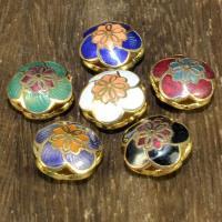 Cloisonne Perlen, Cloisonné, Blume, 24 K vergoldet, Mehrloch-, keine, 13mm, Bohrung:ca. 1.5mm, 10PCs/Tasche, verkauft von Tasche