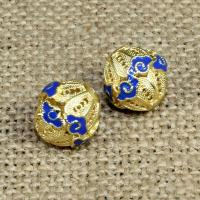 925 Sterling Silber Perle, rund, goldfarben plattiert, Imitation Cloisonne & Emaille & hohl, 12mm, Bohrung:ca. 1.5mm, 10PCs/Tasche, verkauft von Tasche
