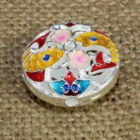 925 Sterling Silber Perlen, flache Runde, silberfarben plattiert, Imitation Cloisonne & Emaille & Doppelloch & hohl, 20mm, Bohrung:ca. 1.5mm, verkauft von PC