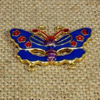 925 Sterlingsilber Schmuckverbinder, 925 Sterling Silber, Schmetterling, goldfarben plattiert, Imitation Cloisonne & Emaille & 2/2-Schleife, 36x25mm, Bohrung:ca. 1.5mm, verkauft von PC