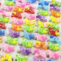 Kinder Schmuckset, Zinklegierung, mit Kunststoff, Schmetterling, Platinfarbe platiniert, für Kinder & mit Strass, gemischte Farben, frei von Blei & Kadmium, 300x192x40mmuff0c23x22x7mm-23x24x7mm, Größe:5.5-9, 100PCs/Box, verkauft von Box