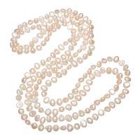 Süßwasserperlen Pullover Halskette, Natürliche kultivierte Süßwasserperlen, für Frau & 3-Strang, 6-7mm, verkauft per ca. 47 ZollInch Strang