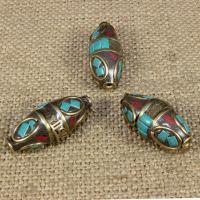 Indonesien Perlen, mit Synthetische Türkis & Messing, oval, om mani padme hum, 30x13mm, Bohrung:ca. 1-2mm, 10PCs/Tasche, verkauft von Tasche