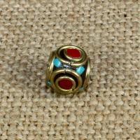 Indonesien Perlen, mit Synthetische Türkis & Messing, Trommel, 12x10mm, Bohrung:ca. 1-2mm, 10PCs/Tasche, verkauft von Tasche