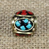 Indonesien Perlen, mit Synthetische Türkis & Messing, rund, 13x13mm, Bohrung:ca. 1-2mm, 10PCs/Tasche, verkauft von Tasche