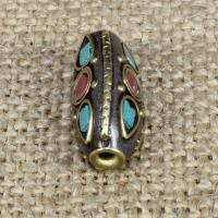 Indonesien Perlen, mit Synthetische Türkis & Messing, oval, 19x10mm, Bohrung:ca. 1-2mm, 10PCs/Tasche, verkauft von Tasche