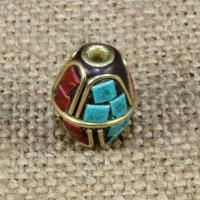 Indonesien Perlen, mit Synthetische Türkis & Messing, oval, 17x13mm, Bohrung:ca. 1-2mm, 10PCs/Tasche, verkauft von Tasche