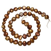 Natürliche Süßwasser, lose Perlen, Natürliche kultivierte Süßwasserperlen, Barock, dunkle Kaffee-Farbe, 8-9mm, Bohrung:ca. 0.8mm, verkauft per ca. 14.3 ZollInch Strang