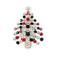 Weihnachten Broschen, Zinklegierung, Weihnachtsbaum, goldfarben plattiert, Weihnachtsschmuck & für Frau & mit Strass, frei von Nickel, Blei & Kadmium, 41x57mm, verkauft von PC
