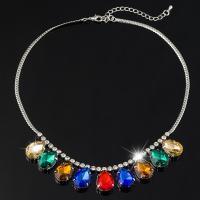 Glasperlen Halsketten, Zinklegierung, mit Glas, Platinfarbe platiniert, für Frau, frei von Blei & Kadmium, 30mm, verkauft per ca. 17.5 ZollInch Strang