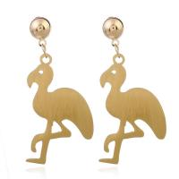 Aluminium Tropfen Ohrring, mit Kunststoff Ohrmutter, Edelstahl Stecker, Vogel, goldfarben plattiert, für Frau, 38x70mm, verkauft von Paar