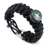 Überleben Armbänder, Nylonschnur, mit Edelstahl, mit Feuer-starter & mit Kompass & unisex, keine, 4mm, 25mm, verkauft per ca. 8.5 Strang