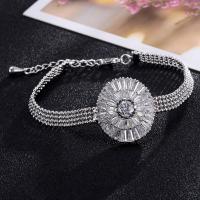 Zirkonia Armband, Messing, platiniert, für Frau & mit kubischem Zirkonia, frei von Blei & Kadmium, 2.5x16.5x6.5cm, verkauft per ca. 6.5 ZollInch Strang