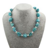 Synthetische Türkis Halskette, mit Natürliche kultivierte Süßwasserperlen, Messing Federring Verschluss, für Frau, blau, 7-8mm, 15-20mm, verkauft per ca. 17 ZollInch Strang