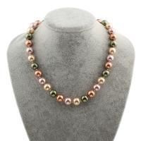 Südsee Muschel Halskette, Messing Fold Over Verschluss, rund, für Frau, 12mm, verkauft per ca. 18 ZollInch Strang