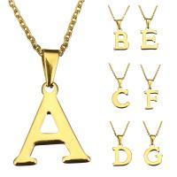 Edelstahl Schmuck Halskette, mit Verlängerungskettchen von 1Inch, Buchstabe, goldfarben plattiert, Oval-Kette & verschiedene Stile für Wahl & für Frau, 7-22x19-21mm, 2mm, verkauft per ca. 18 ZollInch Strang
