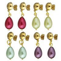 Edelstahl Tropfen Ohrring, mit Glasperlen, goldfarben plattiert, für Frau, keine, 31mm, 9x19mm, verkauft von Paar
