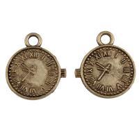 Zinklegierung Uhr Anhänger, Wecker, antike Bronzefarbe plattiert, mit römischen Zahl, frei von Blei & Kadmium, 16x19x1mm, Bohrung:ca. 2.5mm, verkauft von kg