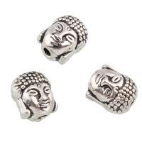 Buddhistische Perlen, Zinklegierung, Buddha, antik silberfarben plattiert, buddhistischer Schmuck, frei von Blei & Kadmium, 9x10.50x8mm, Bohrung:ca. 1mm, 10PCs/Tasche, verkauft von Tasche