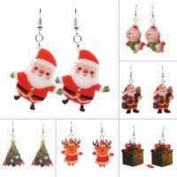 Acryl Tropfen Ohrring, Eisen Haken, Schneemann, Weihnachtsschmuck & für Frau, 60x30mm, verkauft von Paar