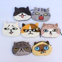Geldbörse, Plüsch, mit Polyester, Katze, Mit smileygesicht & verschiedene Muster für Wahl, 95x135mm, verkauft von PC