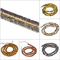 Natürliche Tibetan Achat Dzi Perlen, rund, facettierte, keine, 6mm, Bohrung:ca. 1mm, ca. 62PCs/Strang, verkauft per ca. 15.3 ZollInch Strang